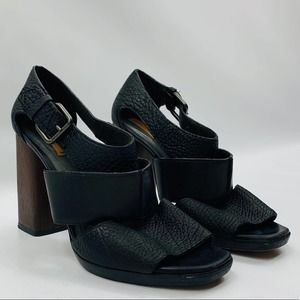 Reed Krakoff Black Leather and Brown Chunky Heel